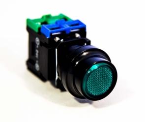 Кнопка зелёная с подсв JLPB-22FR61G, 24VDC 1A